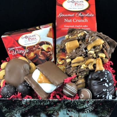 caramel candy chocolate gift basket with drumstick slice caramel smore peanut butter wings