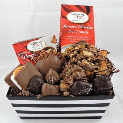 caramel candy chocolate gift basket