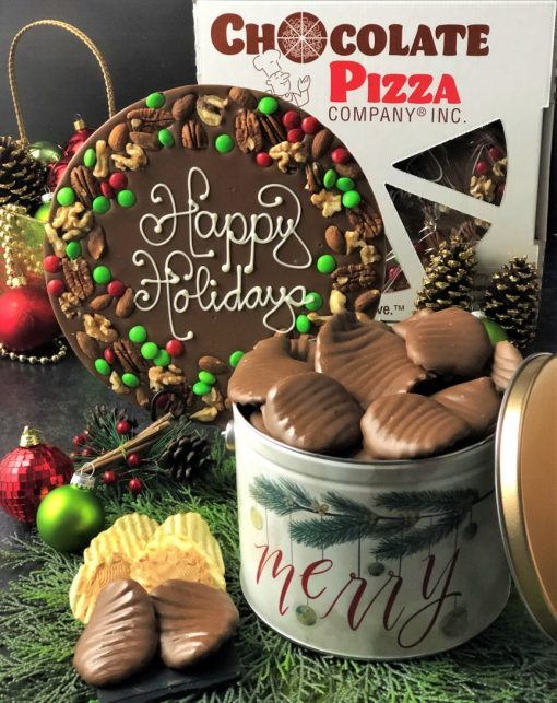 holidays chocolate pizza holly berry border