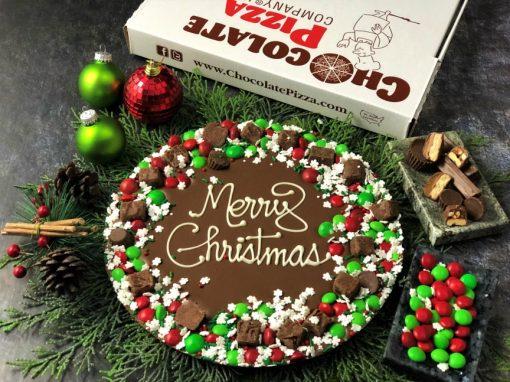 merry Christmas chocolate pizza wreath