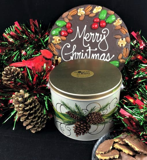 Merry Christmas Chocolate Pizza and Wings in a tin