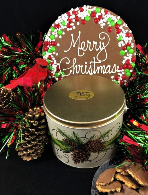 merry Christmas chocolate pizza snowflake
