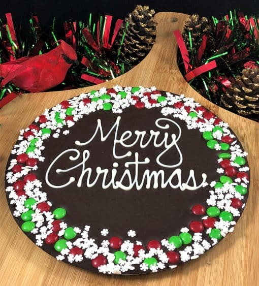 merry Christmas chocolate pizza snowflake dark
