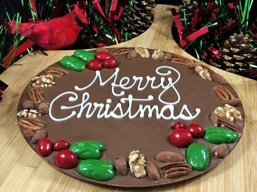 Merry Christmas Chocolate Pizza milk holly berry