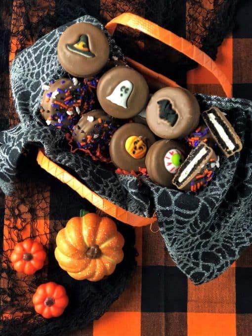 Halloween chocolate cookies in orange bag