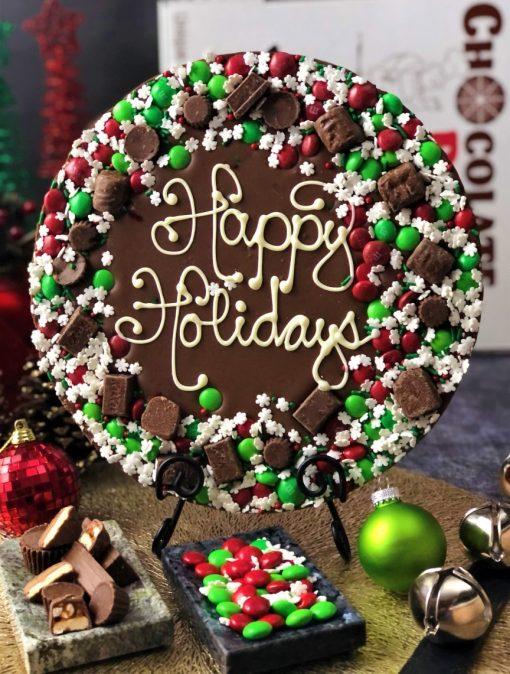 holiday wreath chocolate pizza happy holidays