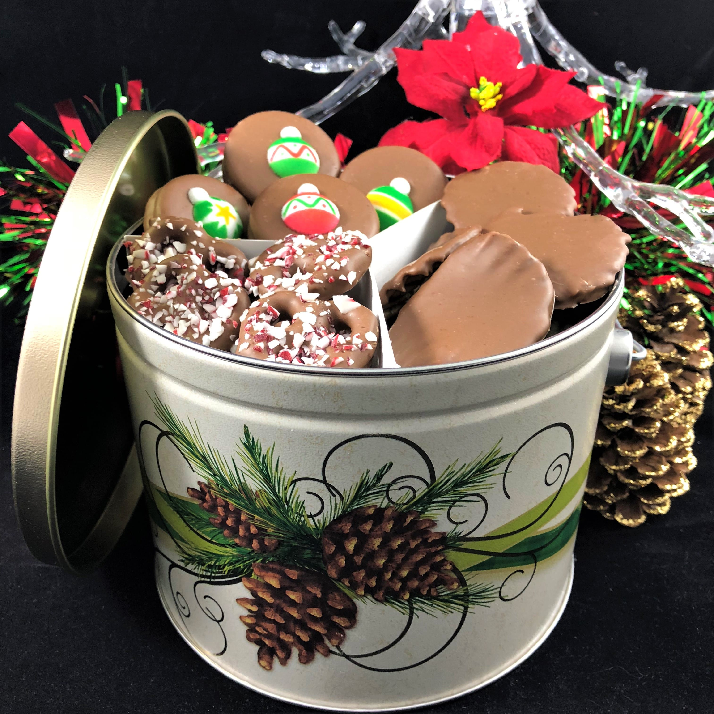 Holiday Tin Trio Christmas Cookies Pretzels Chips For Office Or Family