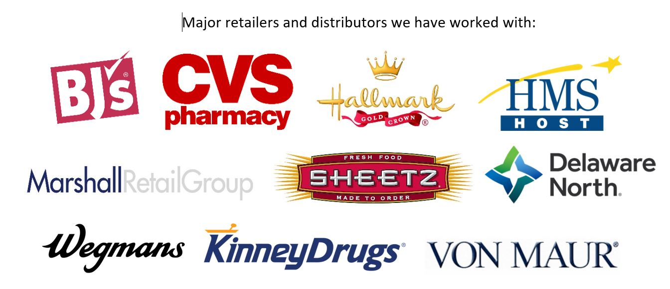 A list of retailers we have worked with including BJ's, CVS, and Hallmark