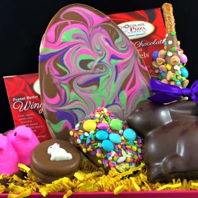 Easter basket with swirled Easter egg and handcrafted chocolate treats
