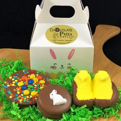 Easter bunny box for kids with chocolate pizza peeps and cookie