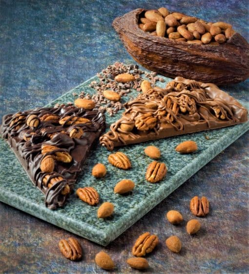 sugar-free chocolate pizza slices with pecans almonds