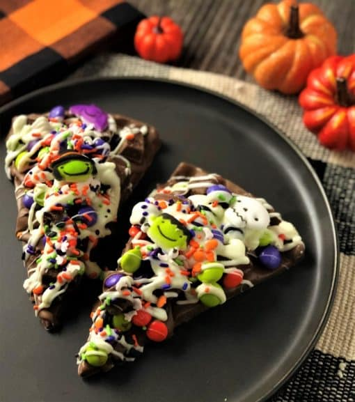 spooky chocolate pizza slice