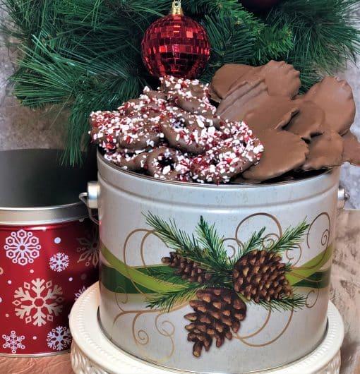 Christmas tins half and half