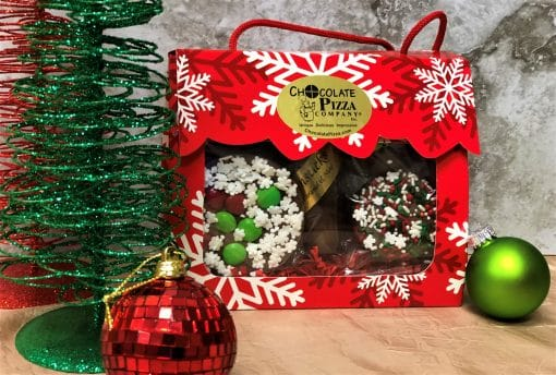 holiday chocolate treats in tote box