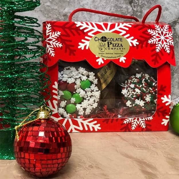Chocolate gift in holiday themed bag