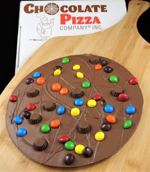Chocolate Pizza with peanut butter cups and candy