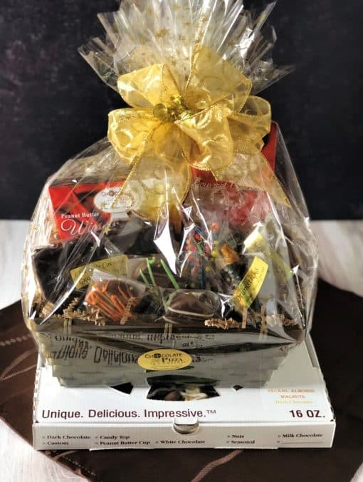 chocolate cravings gift basket and chocolate pizza