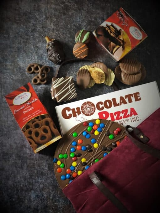 top view of pizza gift basket Chocolate Pizza