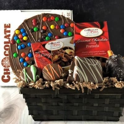 chocolate pizza gift basket in milk chocolate