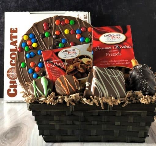 chocolate pizza gift basket in milk chocolate
