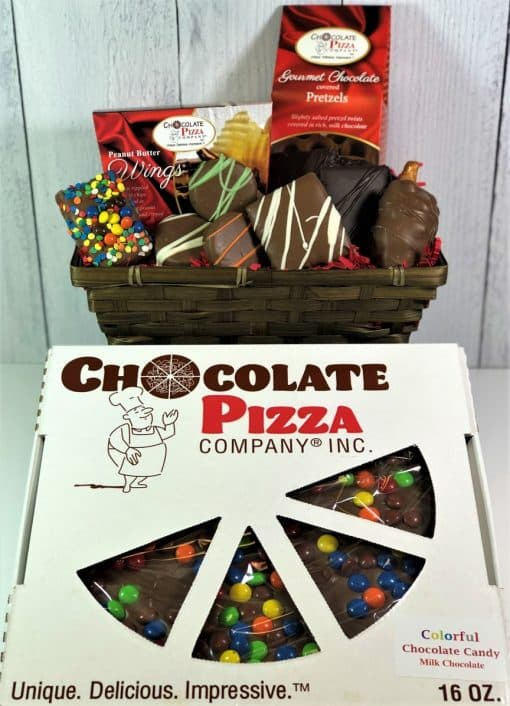 chocolate cravings gift basket with chocolate pizza
