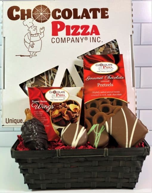 pizza gift basket with chocolate pizza