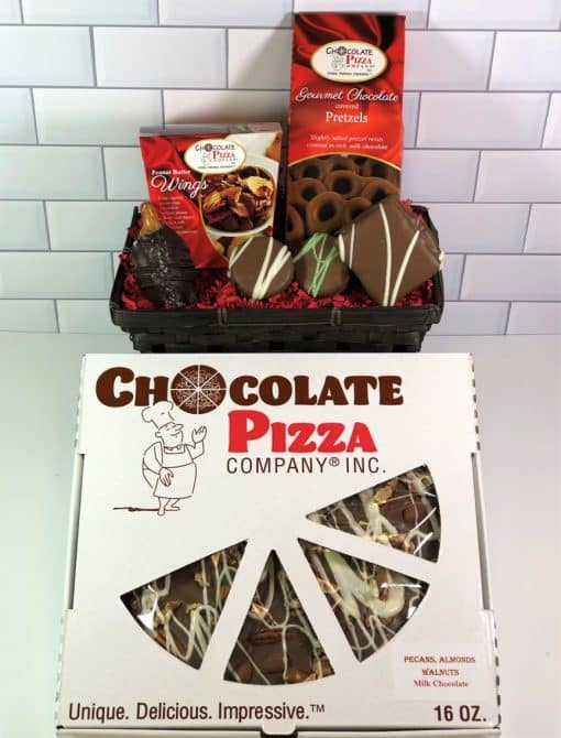 chocolate gift basket with Chocolate Pizza