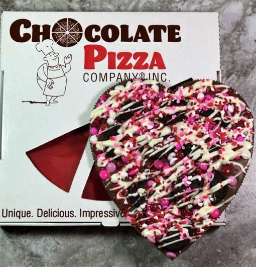 chocolate heart pizza with cookies and pizza box