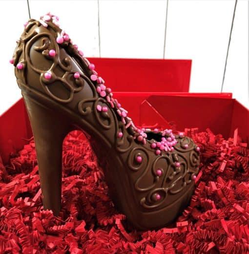 stiletto heel in gourmet chocolate