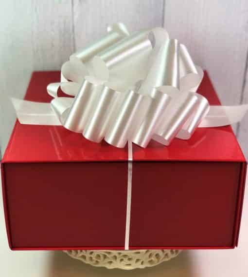 red gloss box and bow