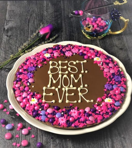 gift for mom chocolate pizza says best mom ever