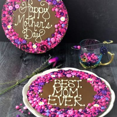 mothers day gift chocolate pizza on plate