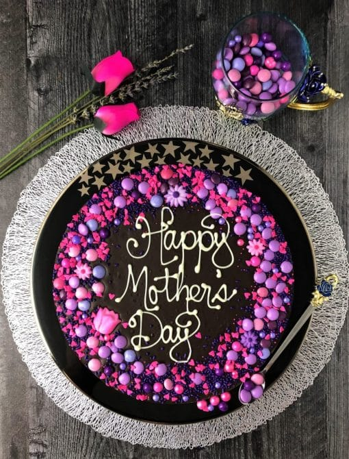 dark chocolate happy mothers day on table