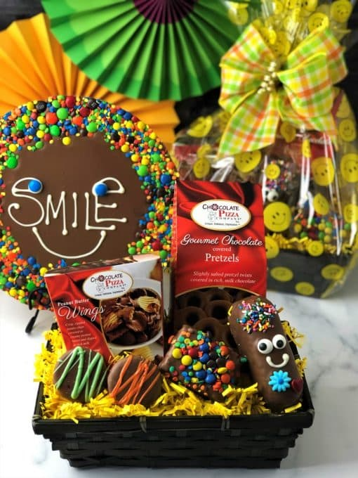 keep smiling gift basket and chocolate pizza