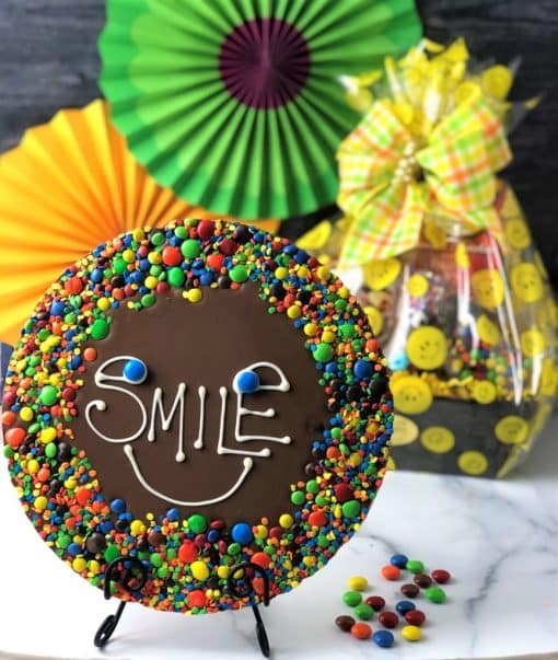 keep smiling chocolate pizza and gift basket