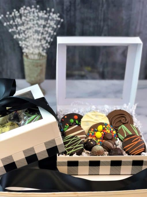 assorted gourmet chocolate in black white gift box