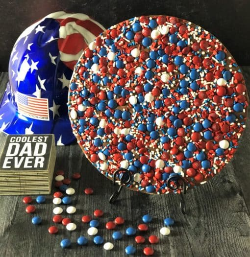 all American dad chocolate pizza in red white blue candy