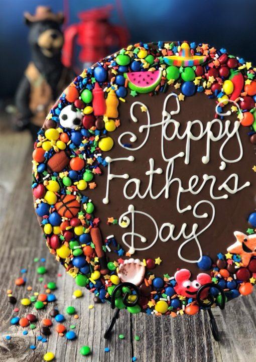 milk chocolate pizza says happy fathers day
