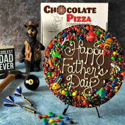 happy fathers day chocolate pizza and pizza box