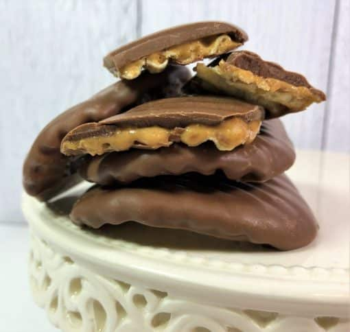 peanut butter covered potato chips dipped in chocolate