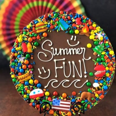 summer fun chocolate pizza with candy decorations