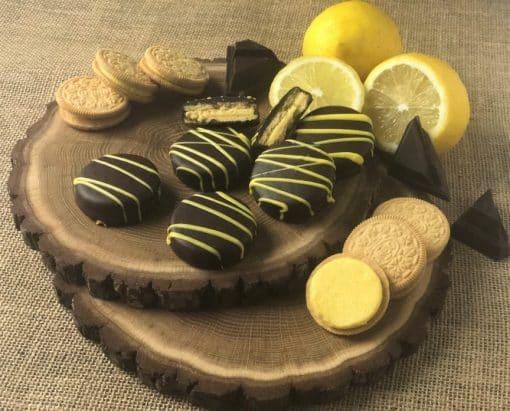 lemon oreo cookie in dark chocolate