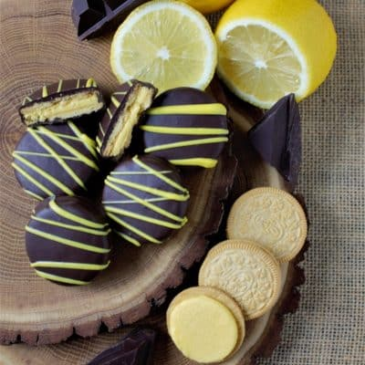 lemon cookies in dark chocolate