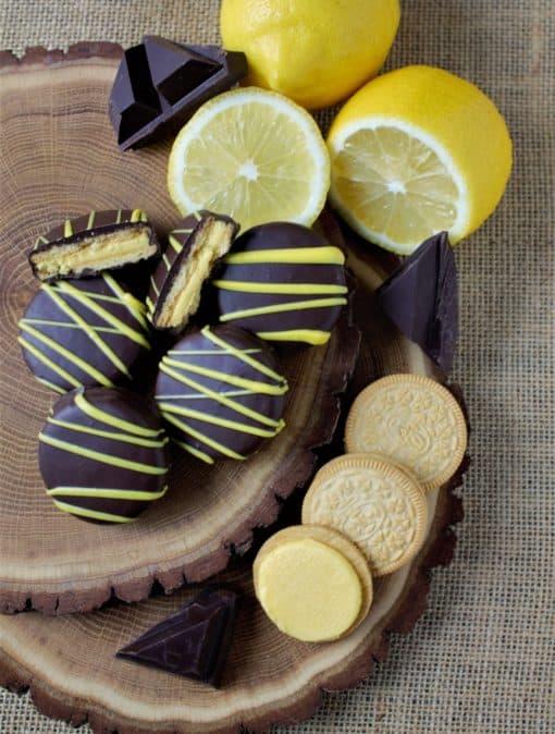 lemon cookies in dark chocolate