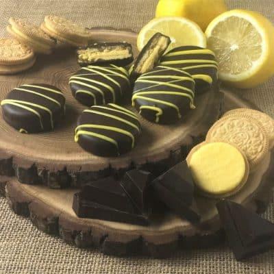 lemon OREO cookies in dark chocolate
