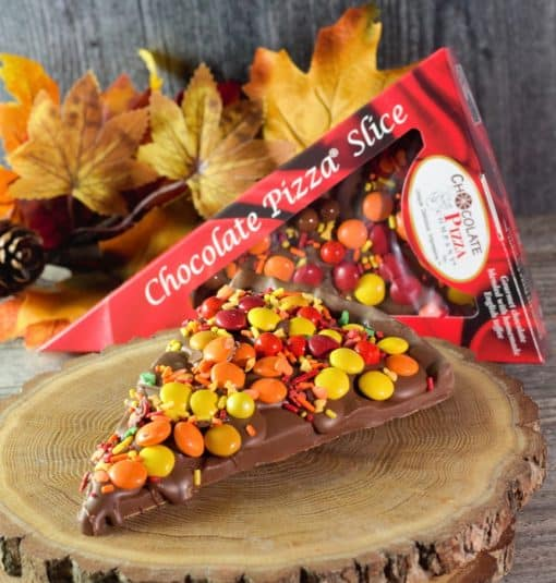 milk chocolate pizza slice with autumn color candies