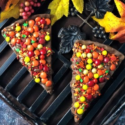 autumn chocolate candies on Chocolate Pizza slice