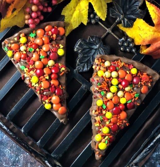 autumn chocolate candies on Chocolate Pizza slice