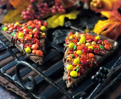 chocolate pizza slice with autumn chocolate candies
