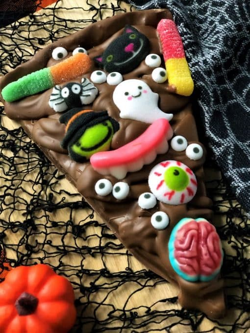 chocolate pizza slice with monster sugar shapes